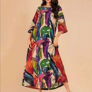 Leaf print longline dress